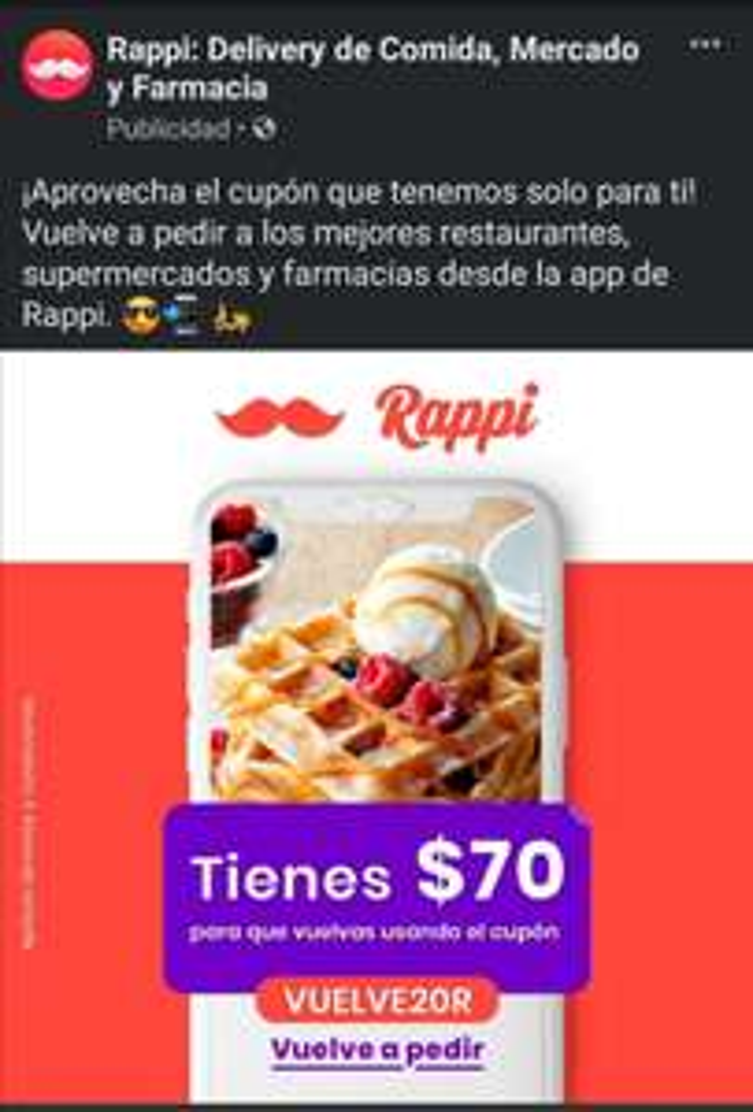 Cupón Rappi (Usuarios Seleccionados)