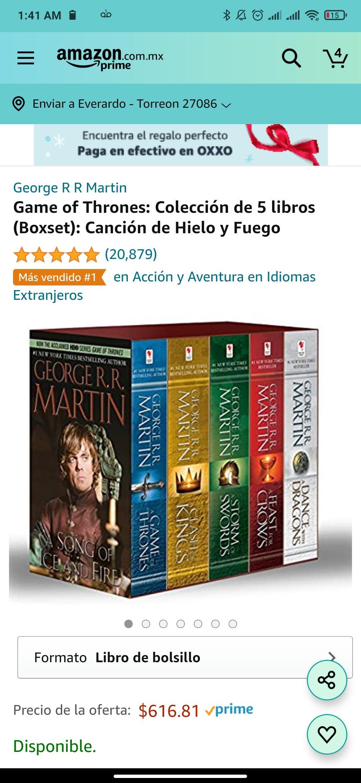 Amazon: Game of Thrones: Colección de 5 libros (Boxset): Canción de Hielo y Fuego
