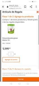 Home Depot: Cubeta de pintura Berelex green blanco en Home Depot on line, con 2 galones de regalo