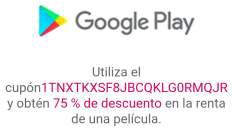 Google Play: 75% de descuento en la renta de una película