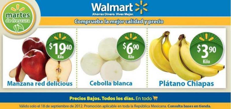 Martes de frescura en Walmart septiembre 18: plátano $3.90, pollo entero $24.90 y más