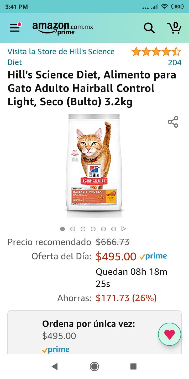 Amazon: Hill's Science Diet, Alimento para Gato Adulto Hairball Control Light, Seco (Bulto) 3.2kg
