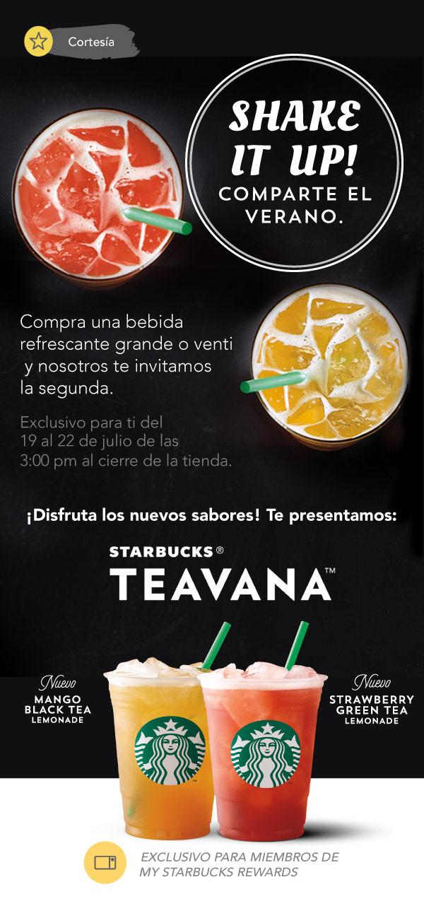 Starbucks: Bebidas refrescantes al 2x1 del 19 al 22 de Julio solo para miembros de My Starbucks Rewards