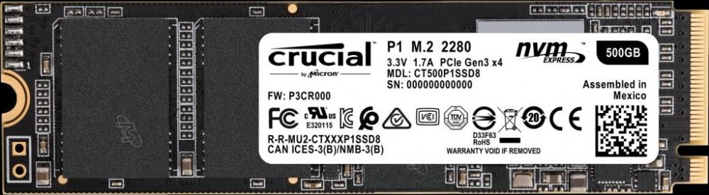 CyberPuerta: SSD Crucial P1, 500GB, PCI Express 3.0, M.2