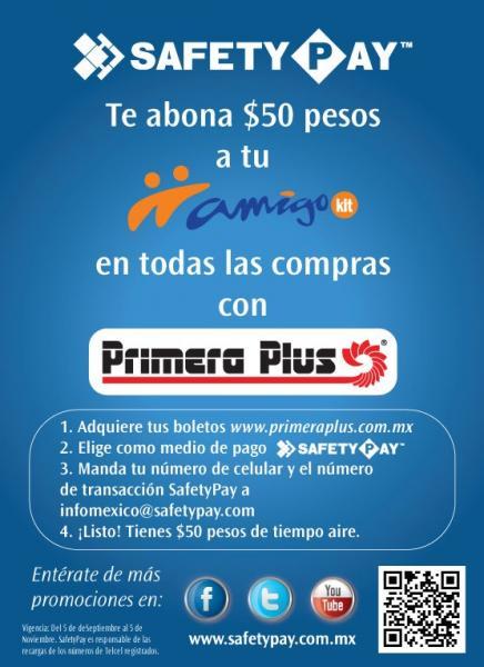$50 de tiempo aire en Amigo Kit pagando boletos de Primera Plus con Safety Pay