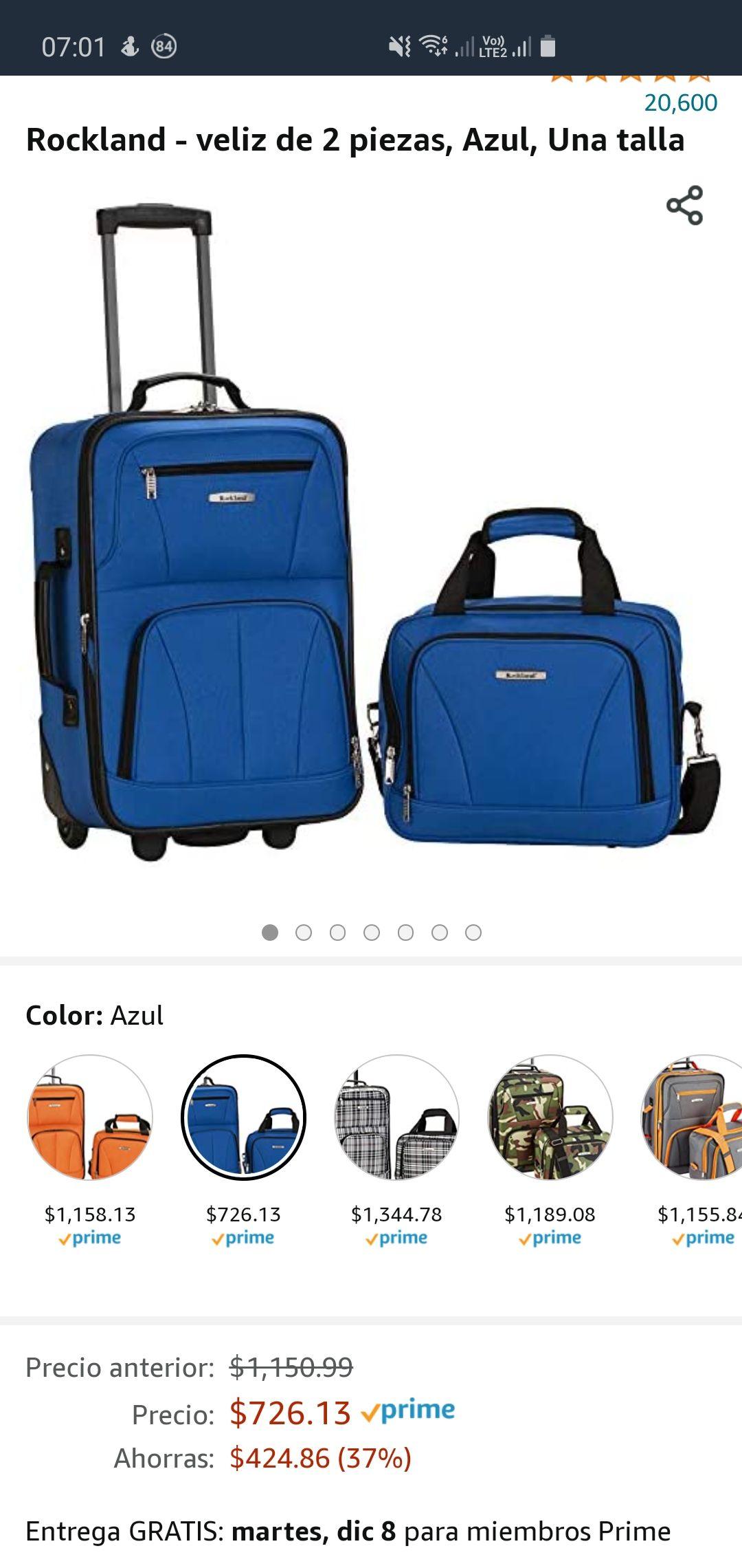 Amazon: maletas de viaje Rockland - veliz de 2 piezas, Azul, Una talla