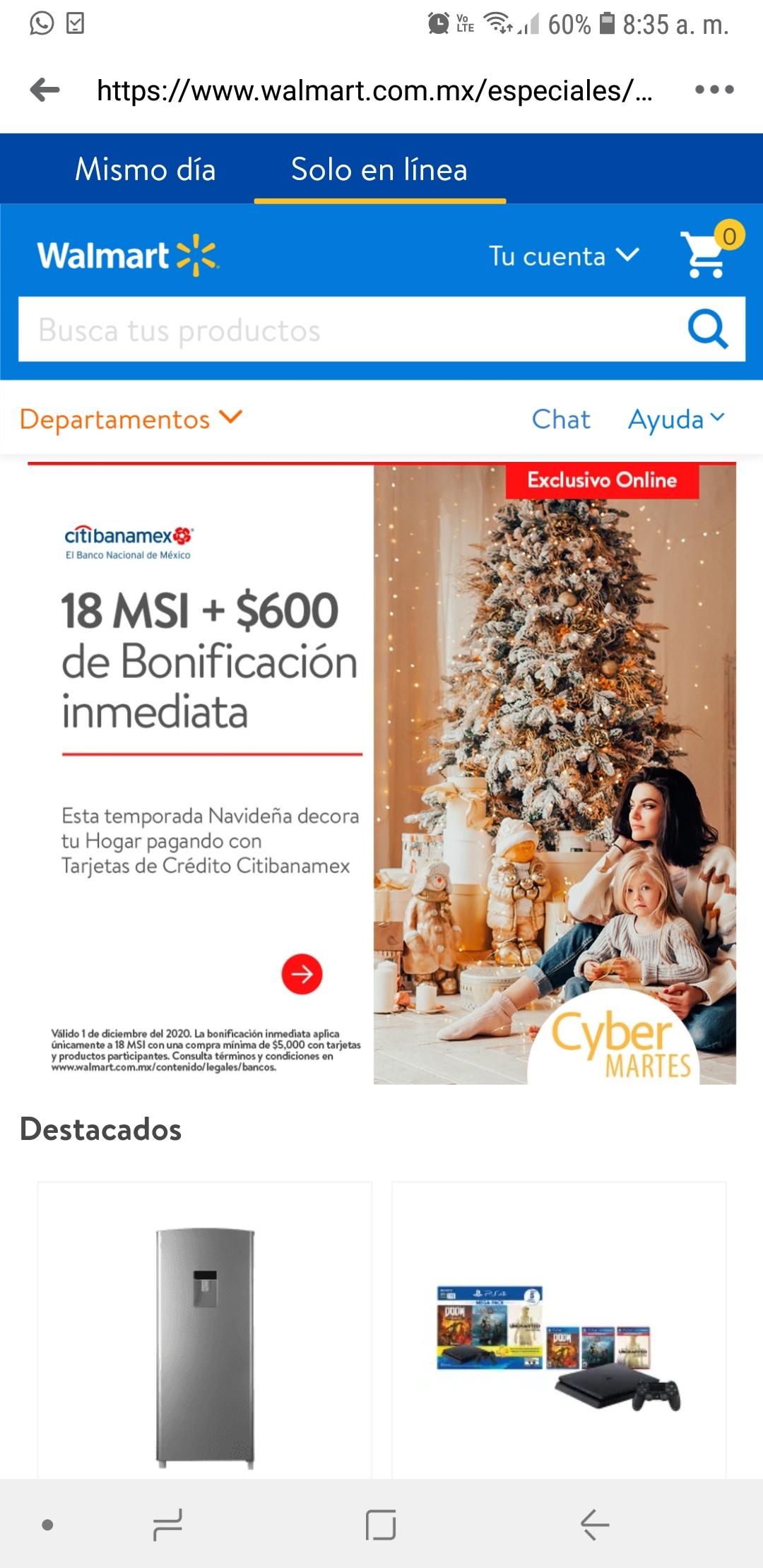 Cyber Martes Walmart: $600 bonificación inmediata en compras a 18 MSI con Citibanamex en artículos seleccionados
