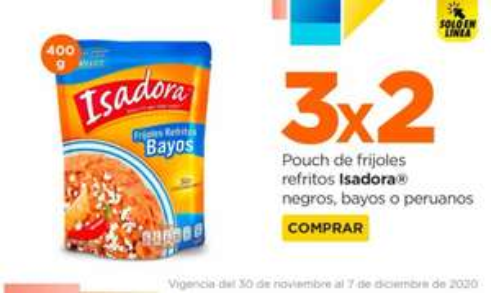 Chedraui: 3 x 2 en pouch de frijoles refritos Isadora negros, bayos o peruanos