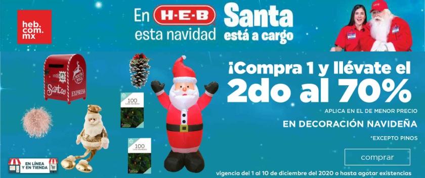 HEB: Compra 1 y llévate el 2do con 70% de descuento en decoración navideña