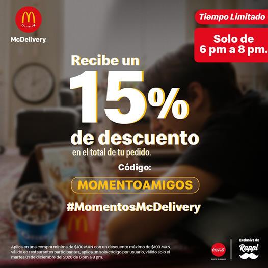 Rappi: 15% de descuento en McDonald's