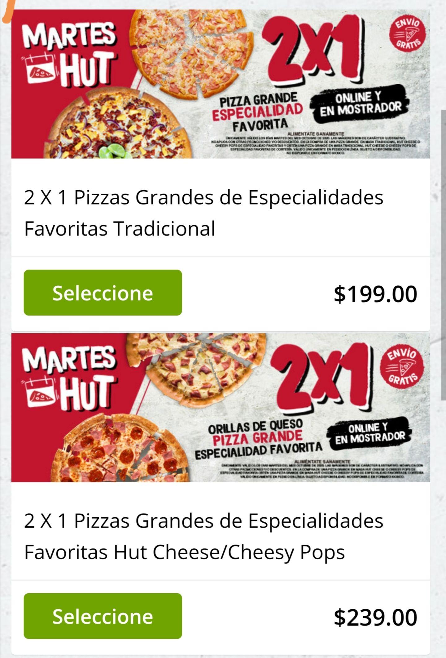 Pizza Hut: Martes de 2x1 en especialidades