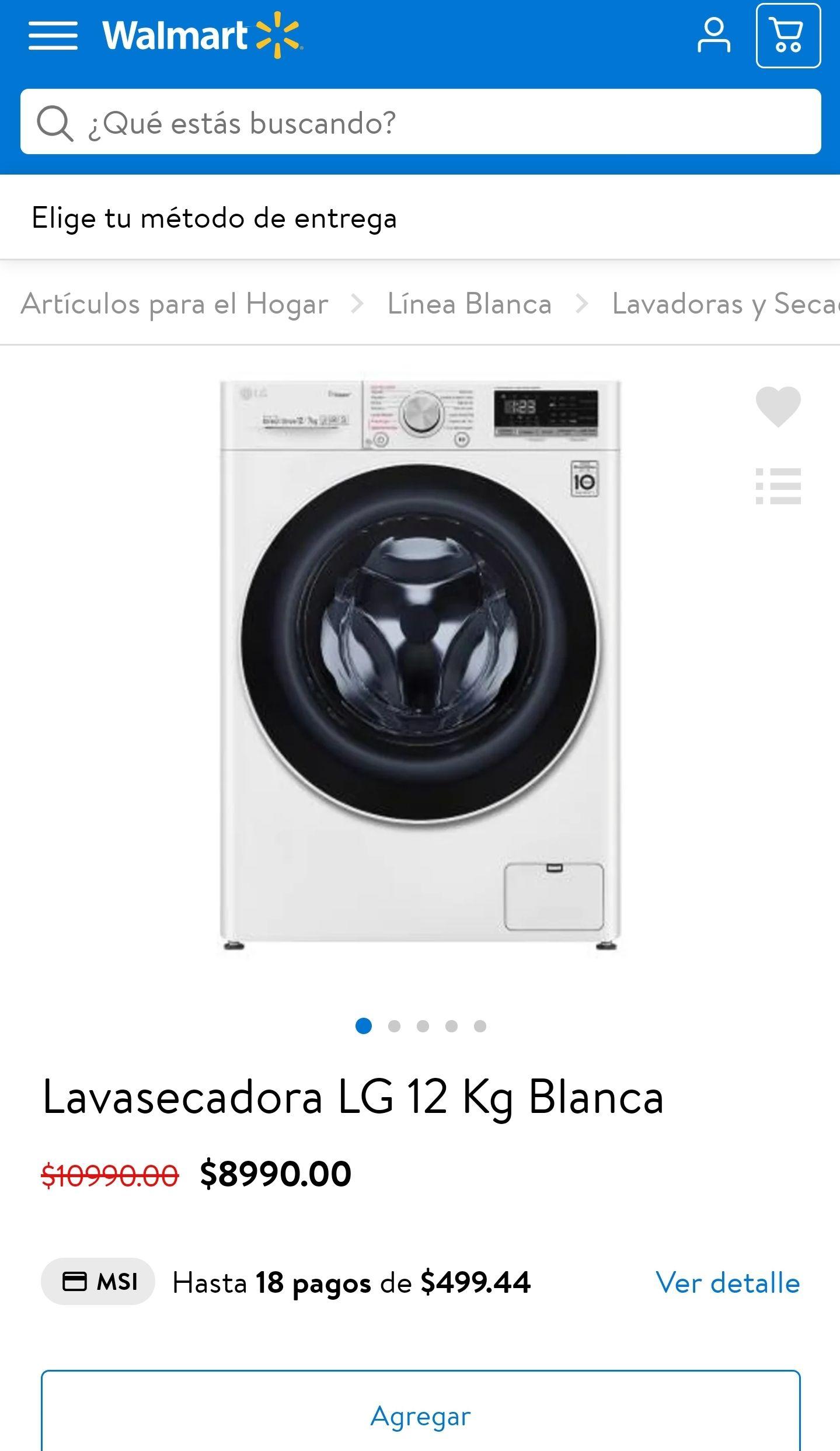 Walmart: Lavasecadora LG 12 Kg Blanca
