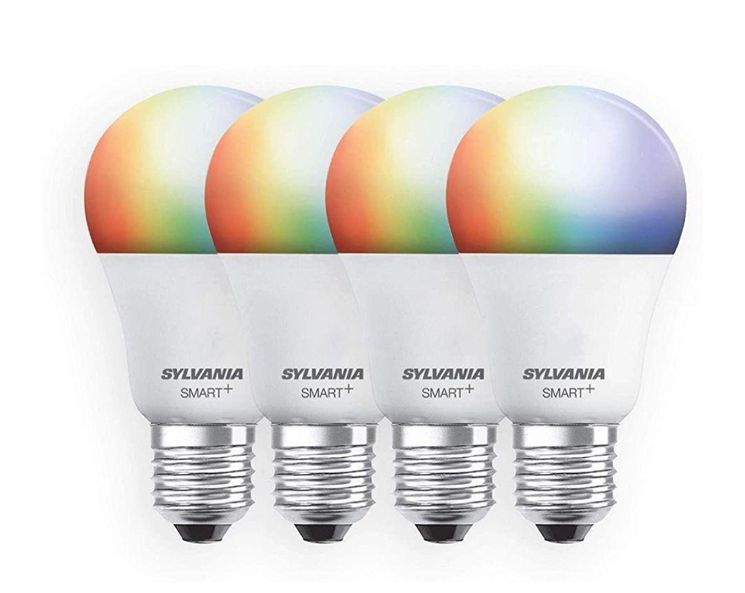 Amazon: SYLVANIA Smart+ WiFi Full Color regulable A19 LED foco de luz, equivalente a 60W, funciona con Alexa y Google Assistant, 4 unidades