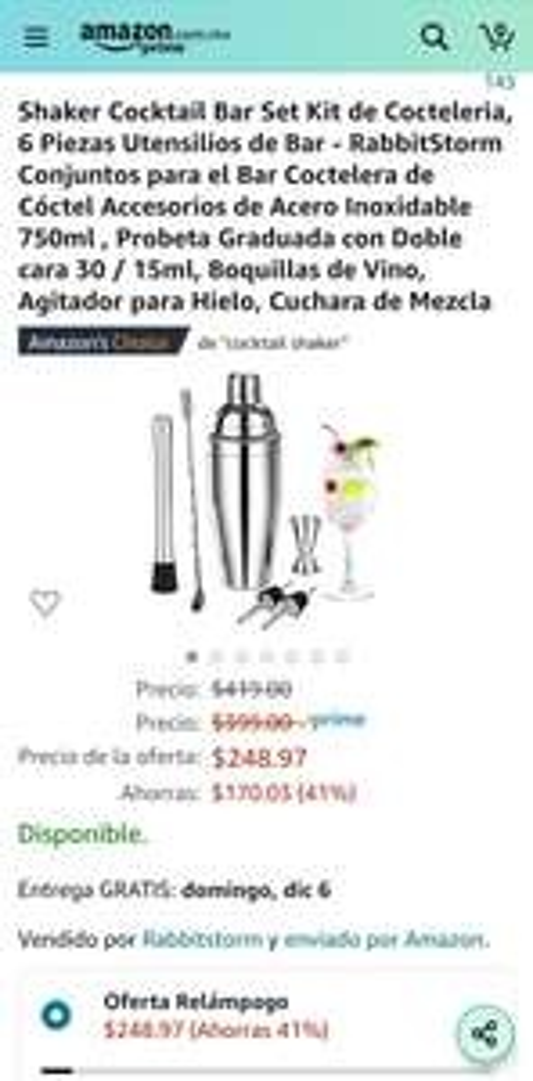 Amazon: Shaker Cocktail Bar Set Kit de 6 piezas