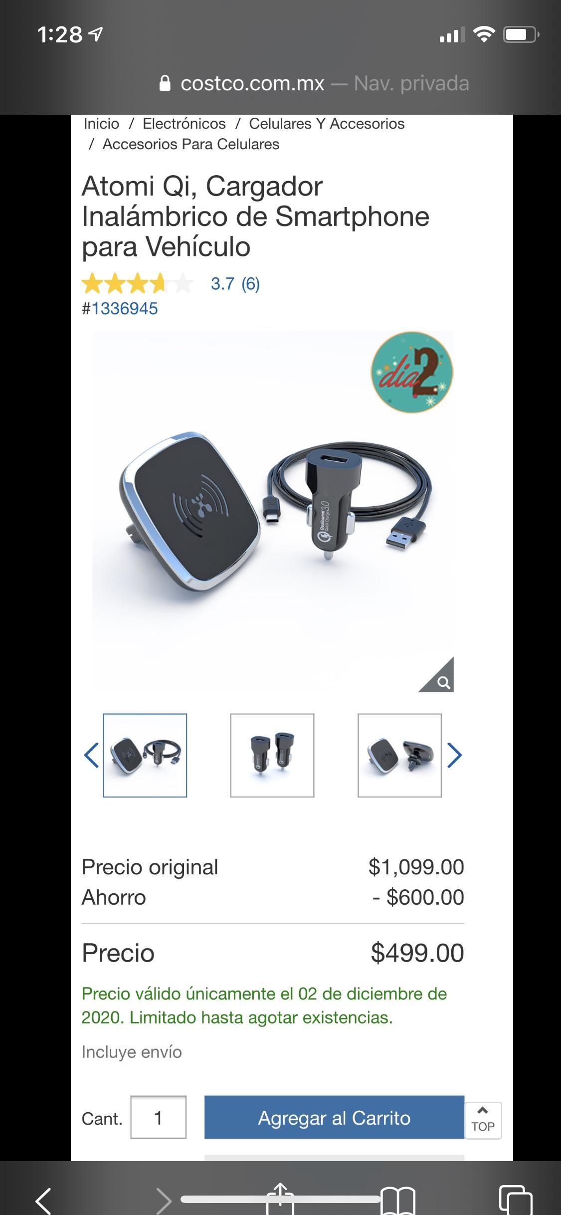 Costco - Atomi Qi, Cargador Inalámbrico de Smartphone para Vehículo