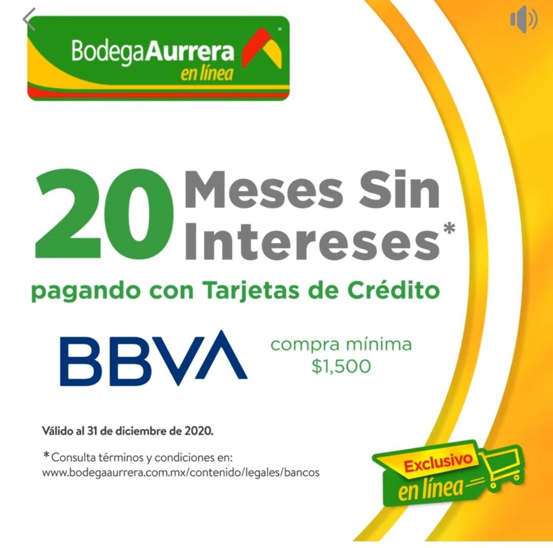 Bodega Aurrerá promociones Meses sin intereses con BBVA