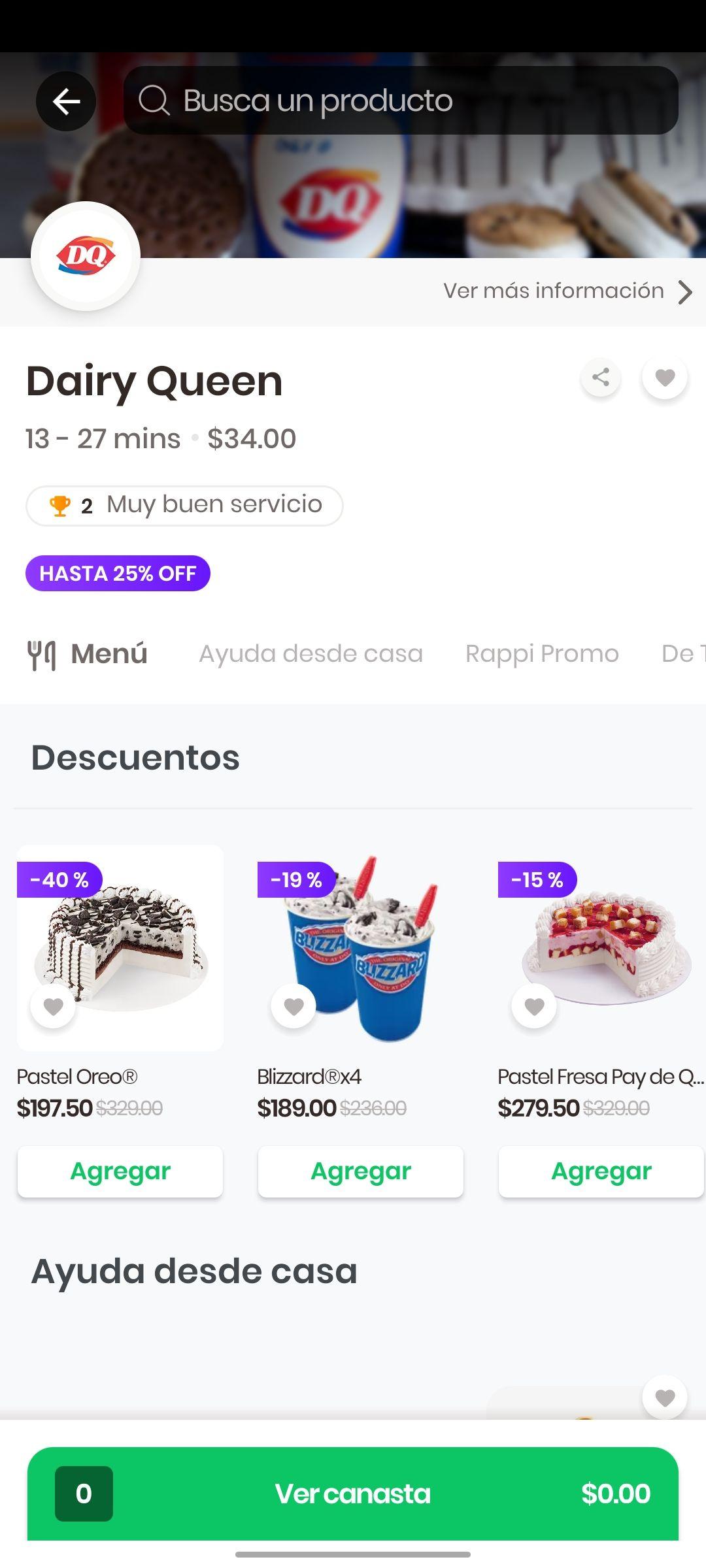 Rappi y Dairy Queen Colima: pastel oreo 40% de descuento y más