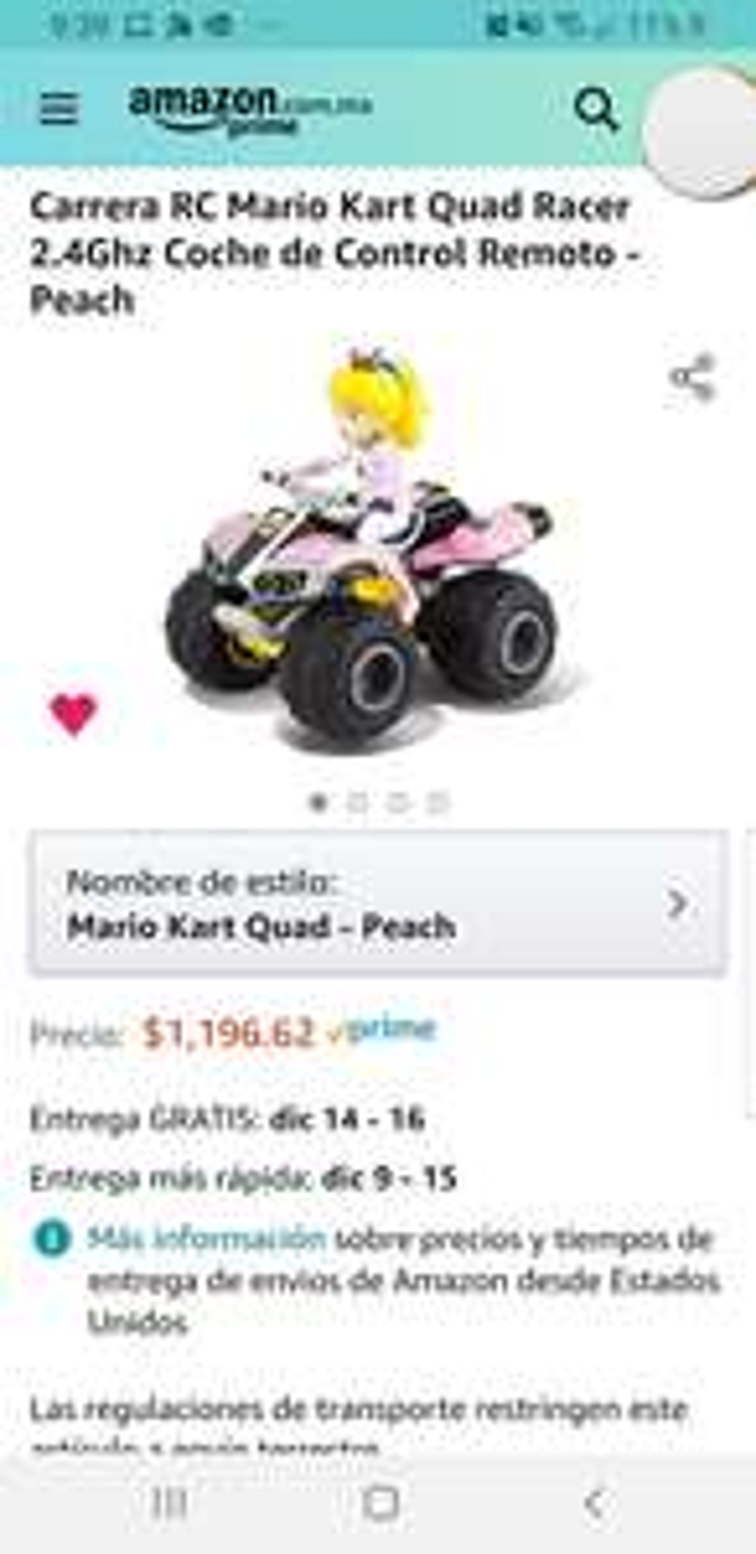 Amazon: Mario Kart Coche de Control Remoto - Peach