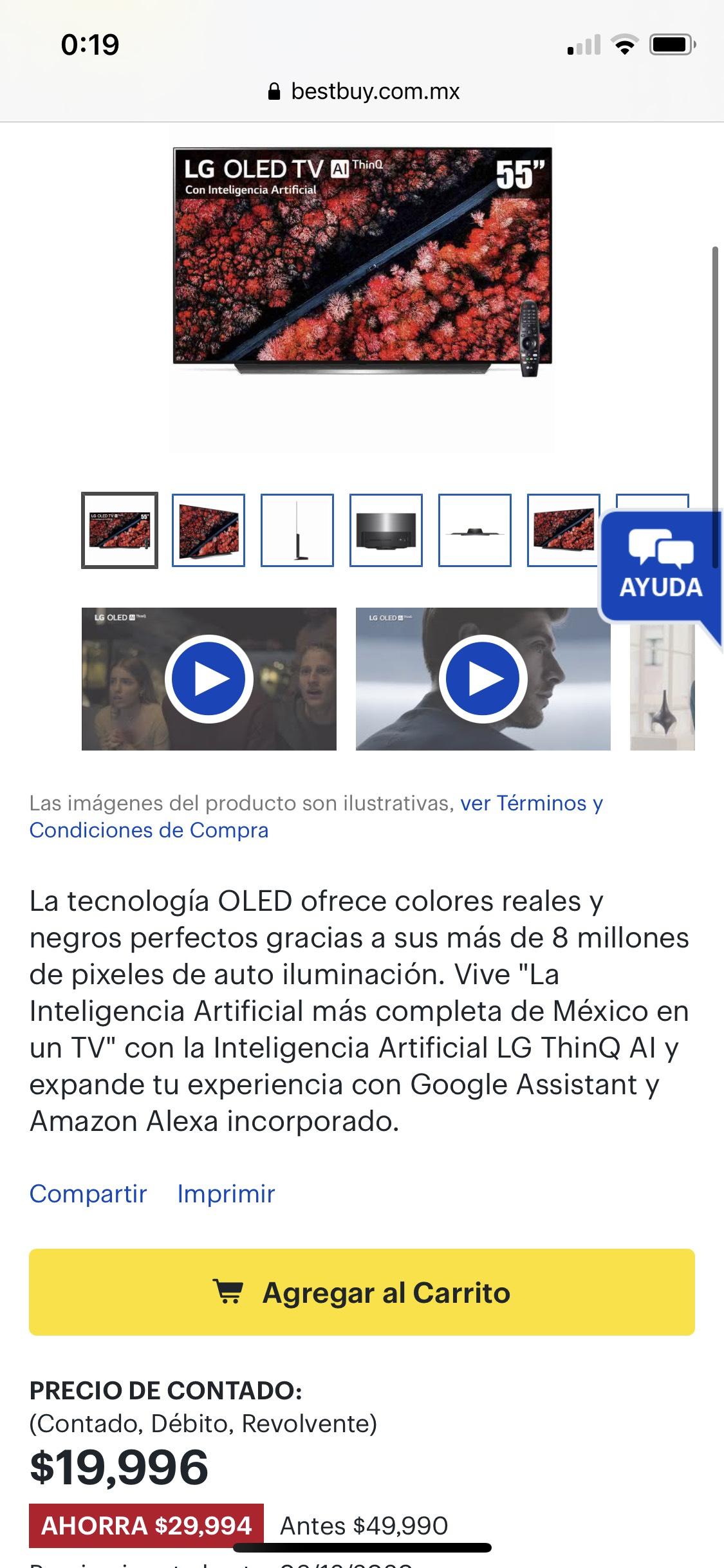 """Bestbuy: LG OLED C9 de 55"""" a $19,996 más cupones si pagan de contado"""