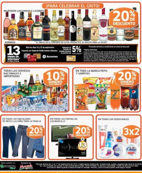 Soriana: bonificación en cervezas, botanas y refrescos, descuento en pantallas LG y más