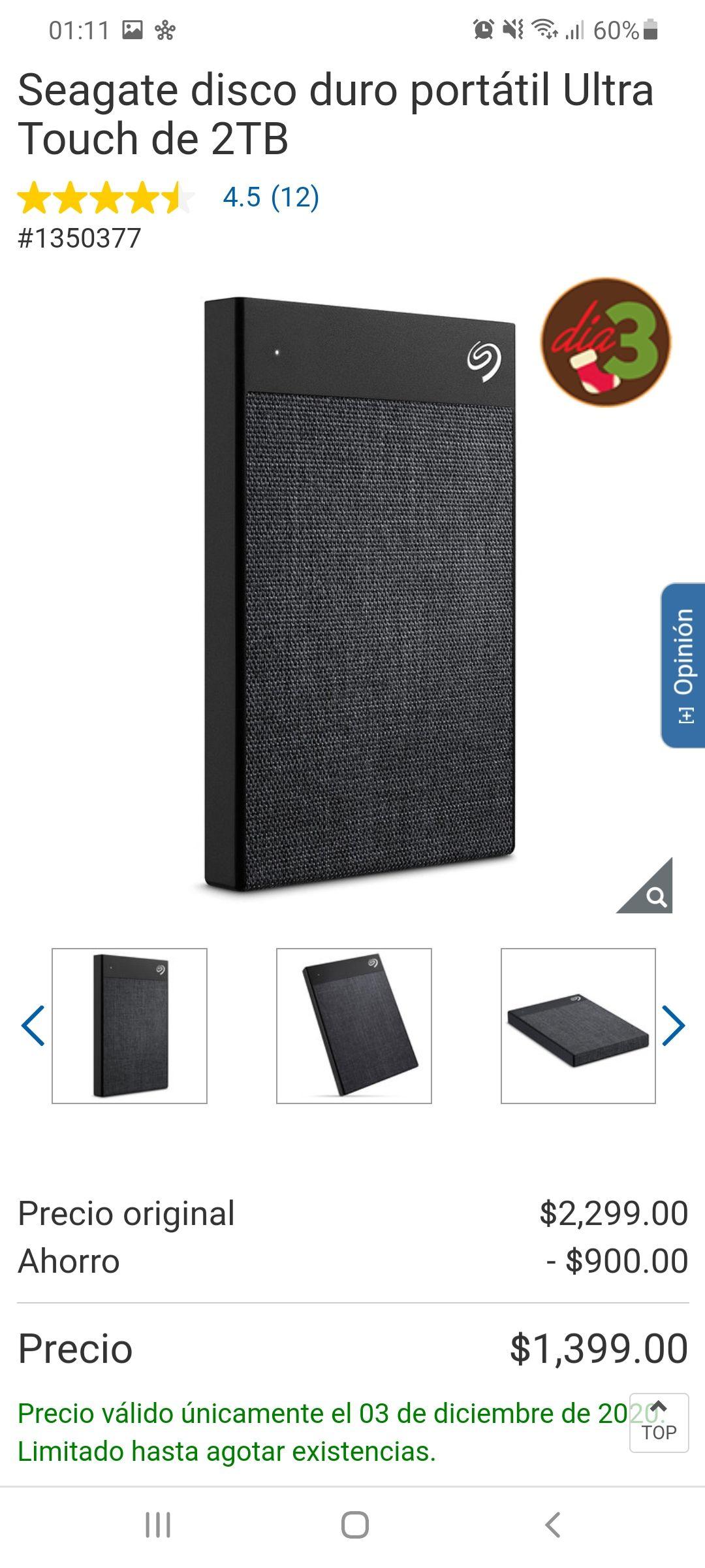 Costco: Seagate disco duro portátil Ultra Touch de 2TB