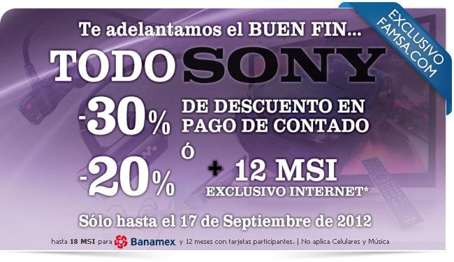 Famsa.com: toda la marca Sony con 30% de descuento