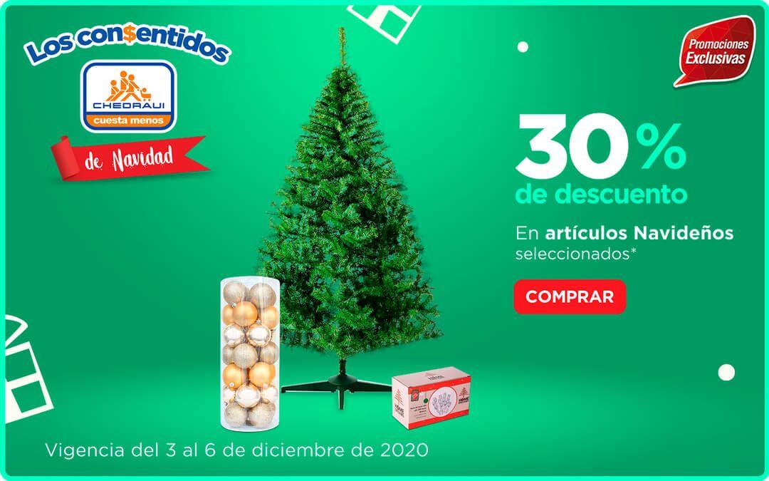 Chedraui: 30% de descuento/bonificación en toda la decoración navideña