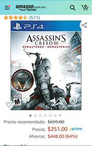 Amazon: Assassin's Creed III: Remastered PlayStation 4