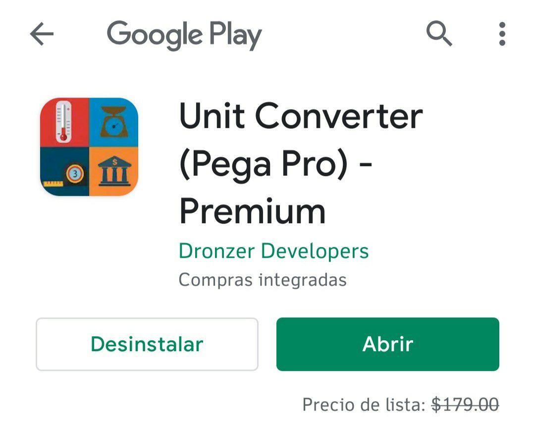 Google Play: App Unit Converter (Pro) Gratis. Convierte todo tipo de unidades