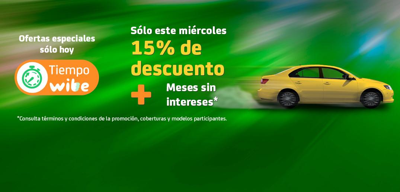 Wibe: 15% de Descuento en Seguro de auto + Meses sin intereses
