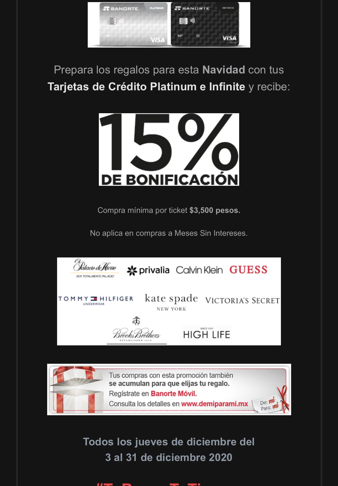 Banorte: 15% de bonificación en compras mínimas de $3,500 pagando con tdc platinum e infinite