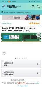 Amazon: RAM DDR4 8GB 2666MHz