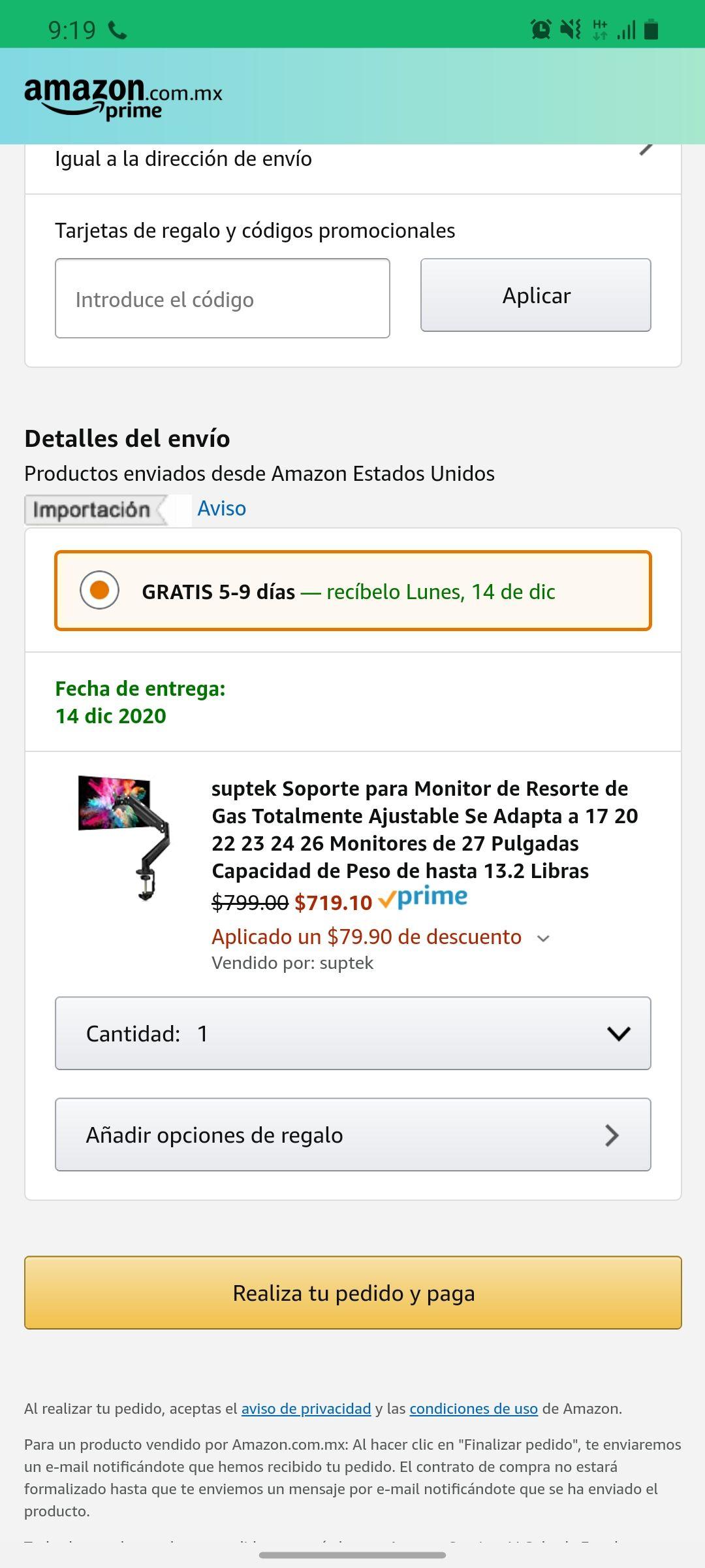 """Amazon: Soporte vesa para monitor de 17"""" a 27"""""""