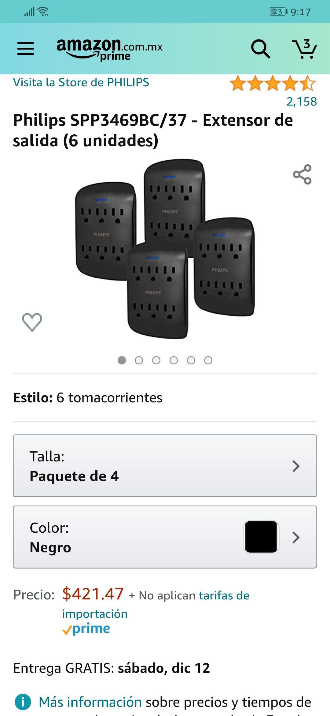 Amazon: Tomacorrientes Philips paquete de 4