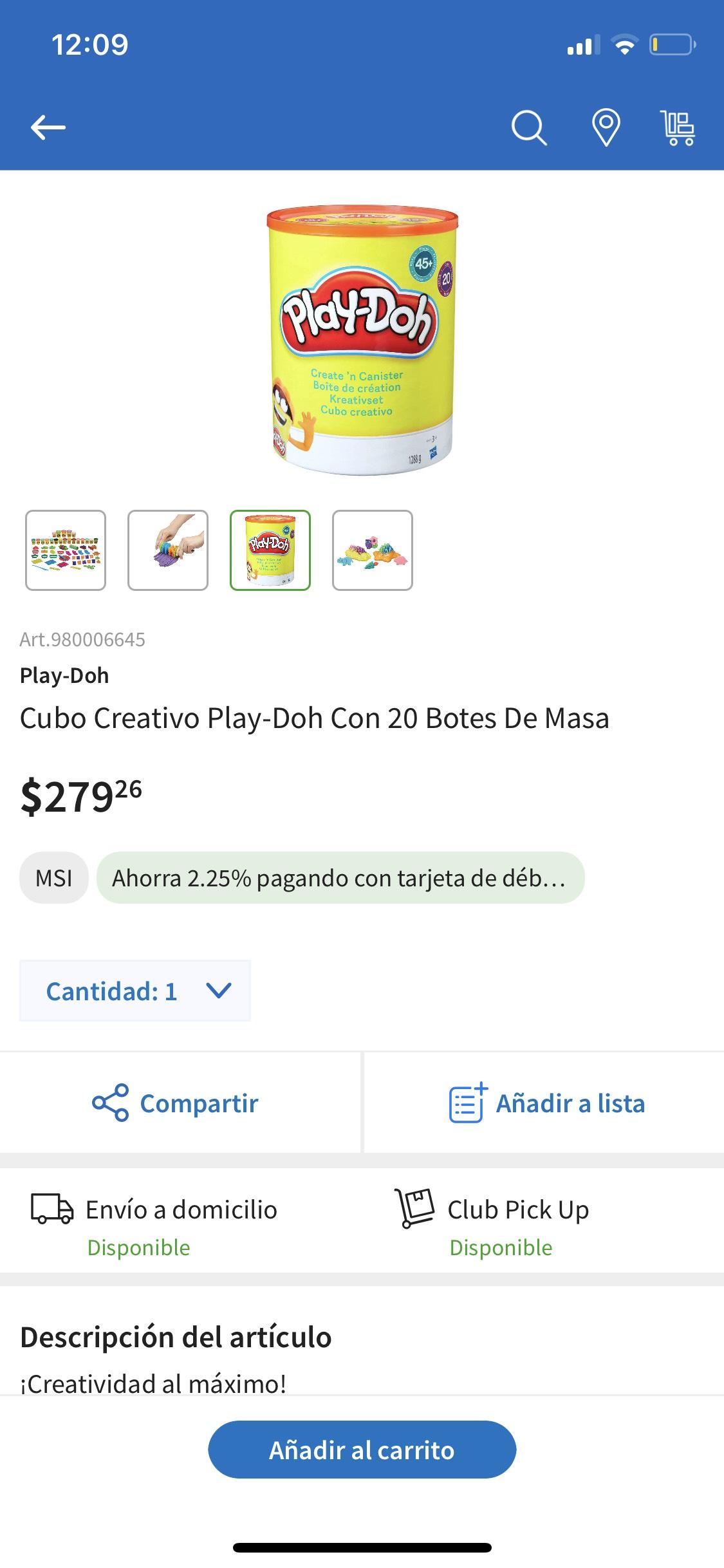 Sams Club: Cubo creativo Play-doh con 20 botes de plastilinas