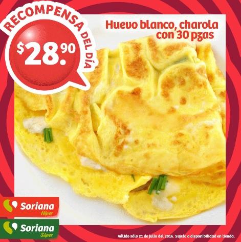 Soriana Híper y Súper (Recompensa Jueves 21 Julio) Huevo Blanco Soriana charola 30 piezas $28.90 o a $9.90 con 150 puntos