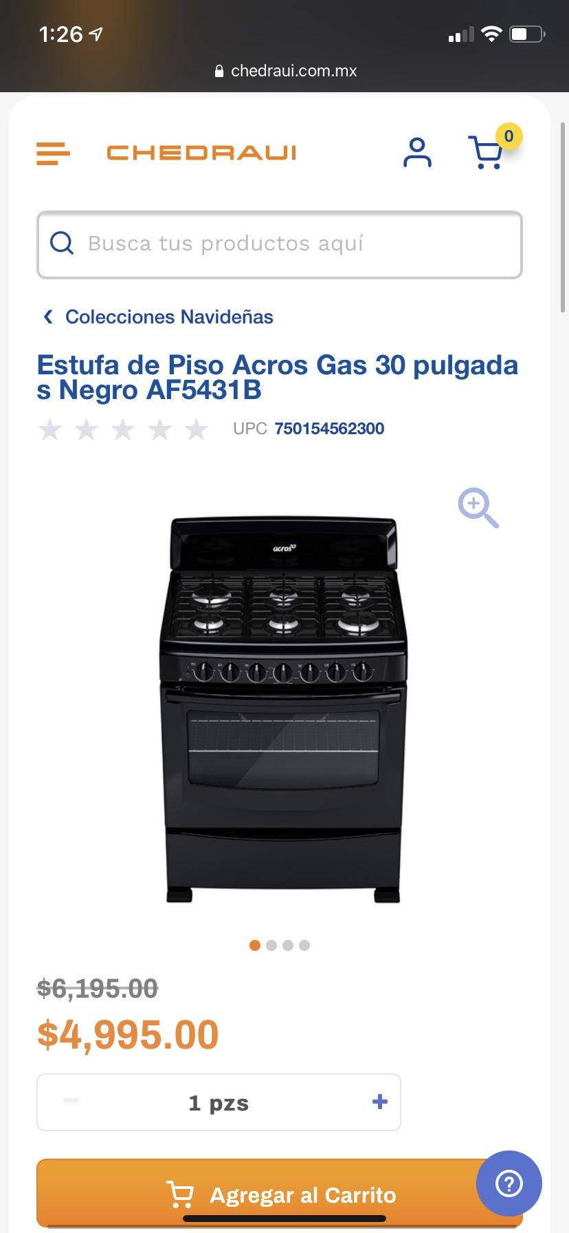 Chedraui: Estufa de Piso Acros Gas 30 pulgadas