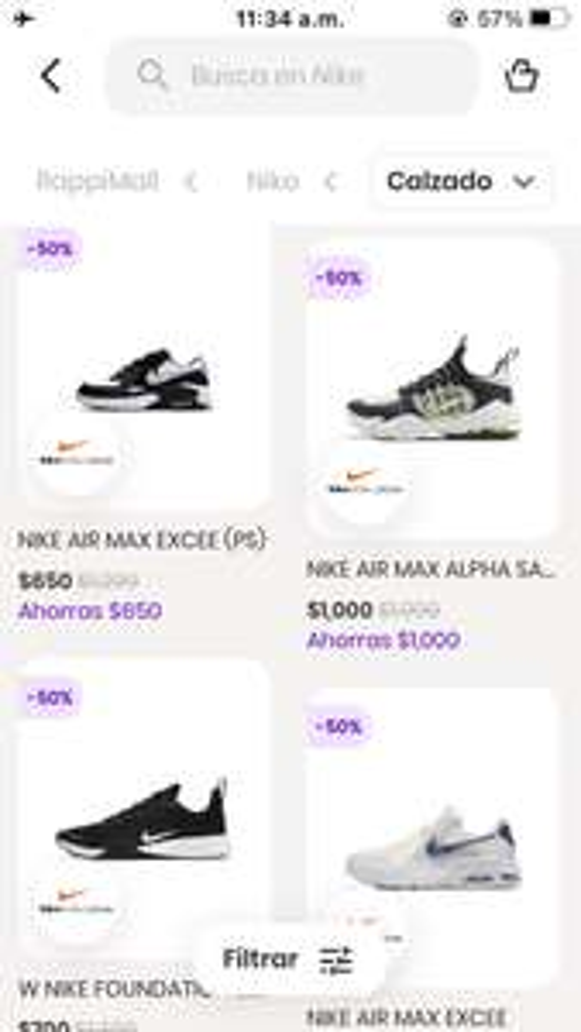 Rappi: Todo al 50% en Nike Factory Store