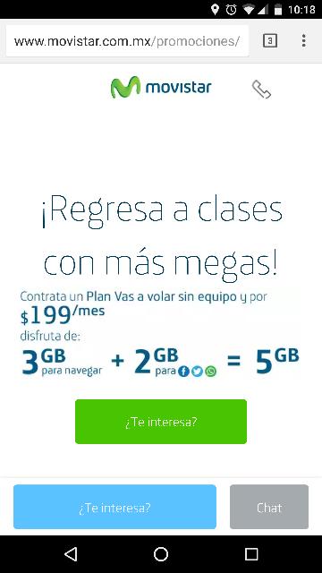 Movistar: Plan vas a volar sin equipo te da más megas, 3Gb para navegar, 2Gb para redes sociales por $199 al mes