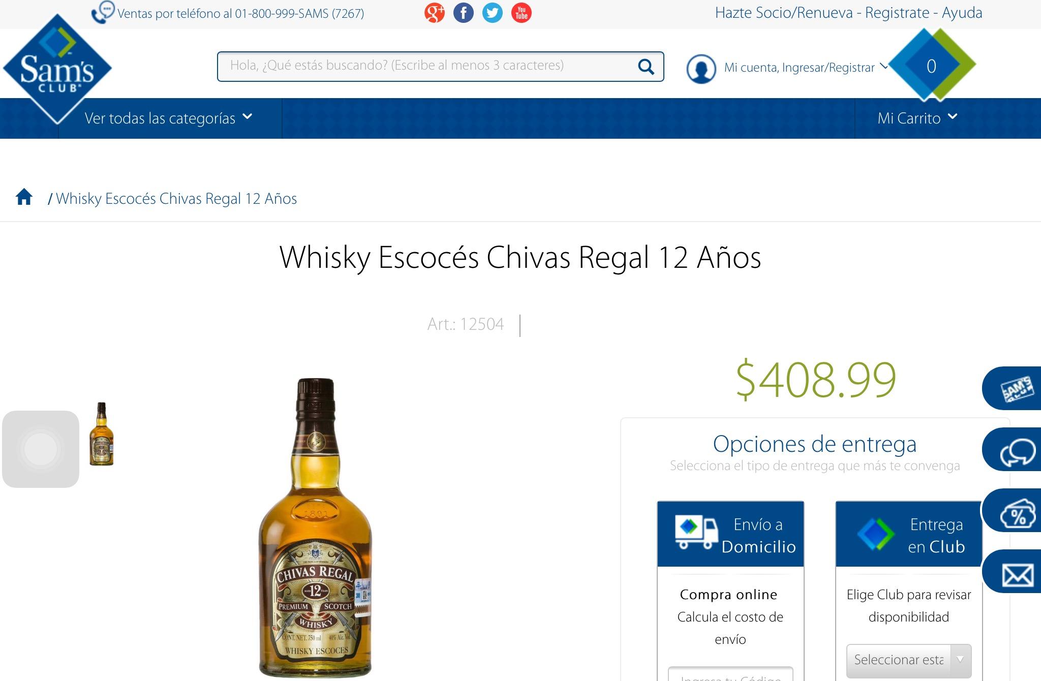 Sam's Club en línea: Whisky Chivas Regal 12 años 700ml