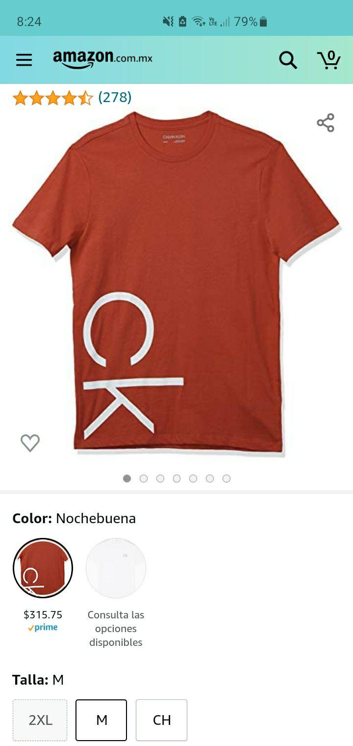 Amazon: Playera Calvin Klein cuello redondo con logo talla M