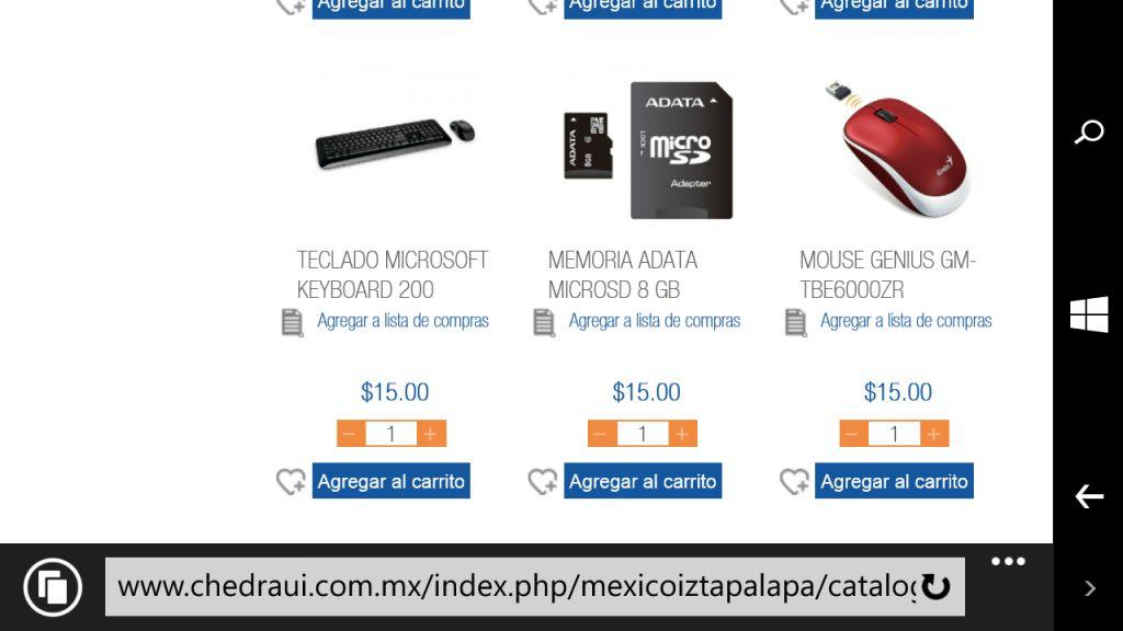 Chedraui Iztapalapa - Mouse, teclado y MicroSD a $15 cada uno