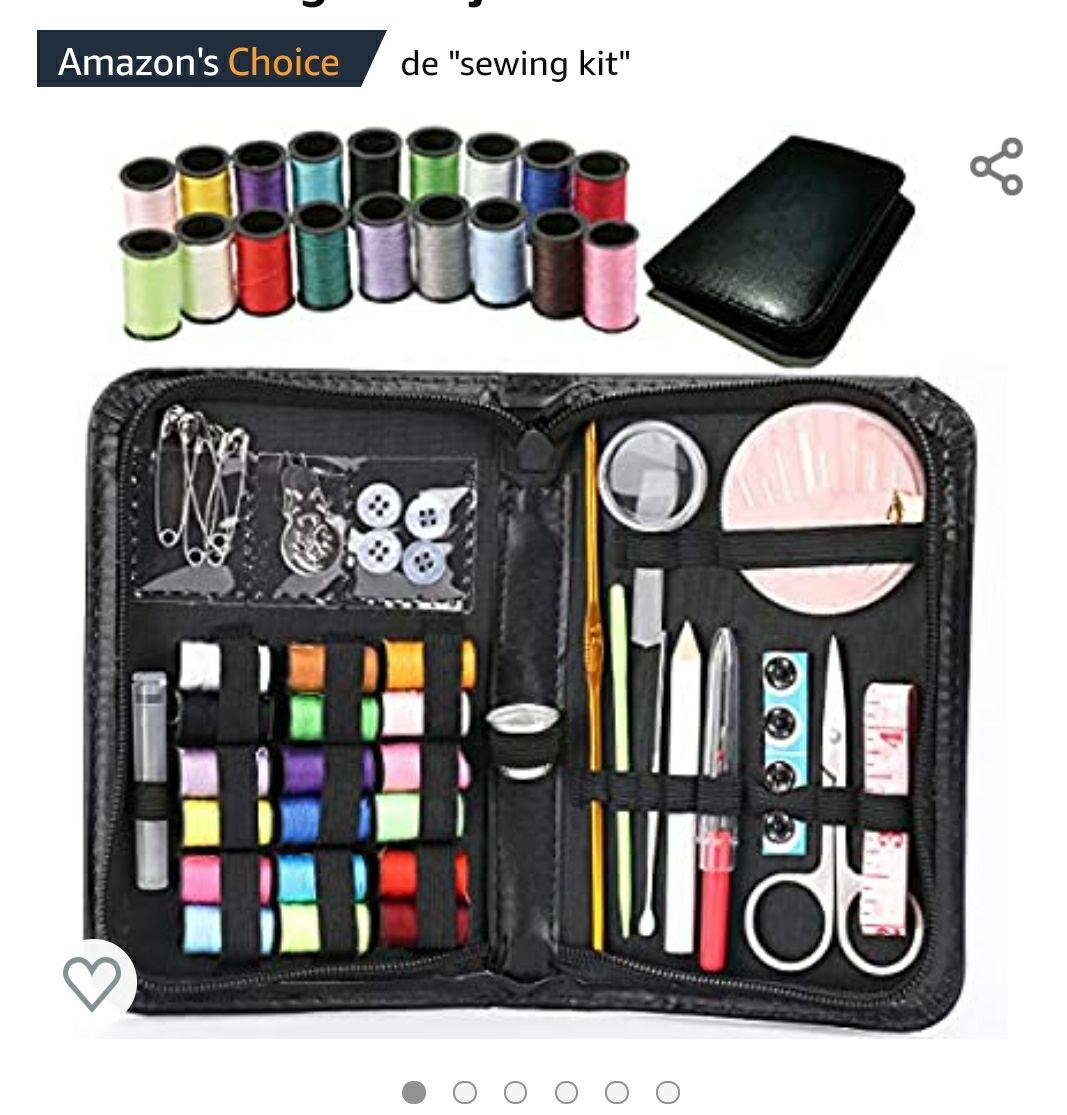 Amazon: Kit de Costura,Costurero de 58 Piezas,Caja de Costura Premium de Bricolaje con Hilo de Aguja , OFERTA RELÁMPAGO