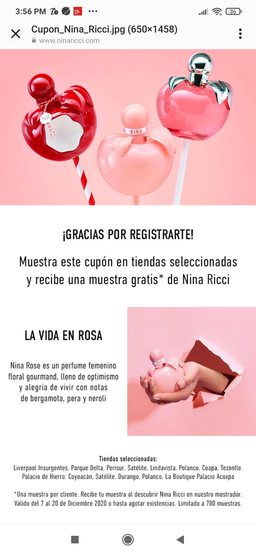 Nina Ricci: Muestra gratis al presentar cupón