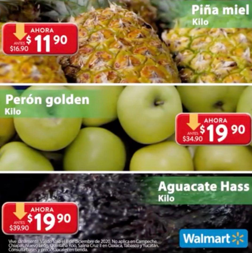 Walmart: Martes de Frescura 8 Diciembre: Piña $11.90 kg... Aguacate ó Perón Golden $19.90 kg.