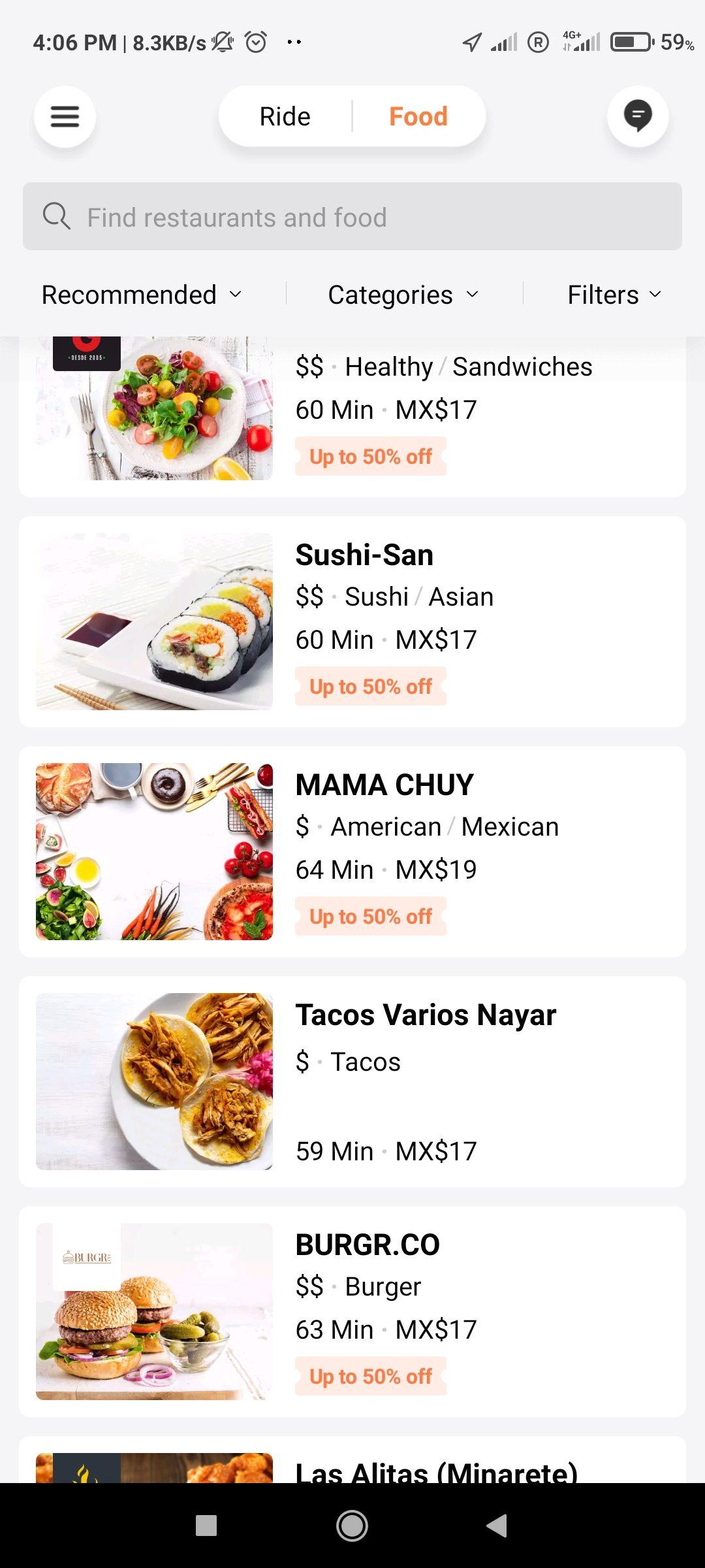 Didi food, casi todo con 50% de descuento