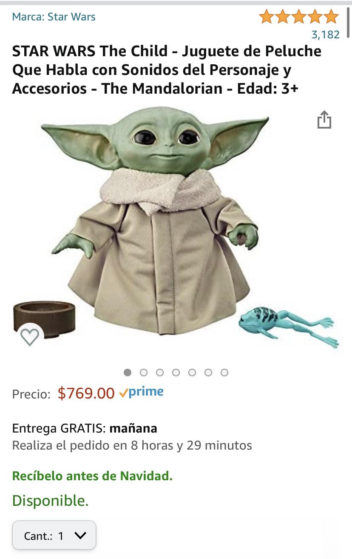 Amazon: Baby Yoda - Peluche Que Habla con Sonidos y Accesorios