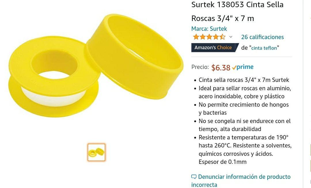 """Amazon: Surtek 138053 Cinta Sella Roscas 3/4"""" x 7 m Envío gratis socios prime"""