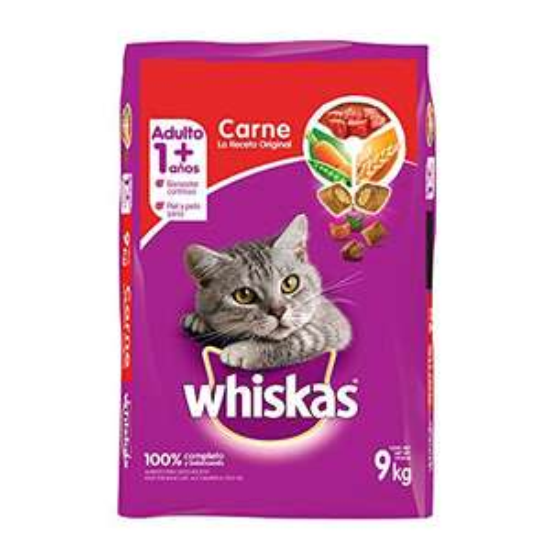 Amazon: Whiskas alimento para Gatos Adultos. Sabor Carne (Receta Orginal) 9Kg