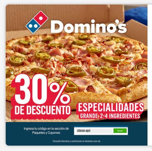 Domino's: 30% de descuento en especialidades 2-4 ingredientes con cupón Alsea
